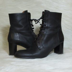 J. Crew   Heeled Leather   Lace up Boots